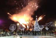 Kansas City ice rink opening-fireworks